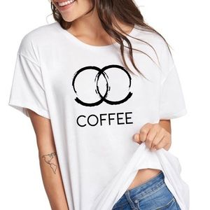 Coffee haute stained graphic tee t-shirt top New!